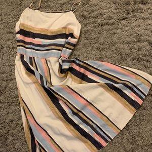 Linen blend A-line stewpot dress